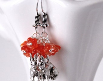 Orange Floral Cluster Earrings - Pewter Rabbit Charms, Czech Glass Bell Flowers, Bunny Earrings, Red Orange Crystal Beads, Animal Earrings