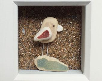 Scottish Sea Pottery Bird Picture - Beach Decor - Bird Lovers Gifts - Handmade in Scotland - Birdwatcher - Coastal Interiors - Twitcher Gift