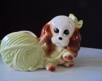 REDUCED Vintage Baby Planter Puppy With Light Green Yarn    488