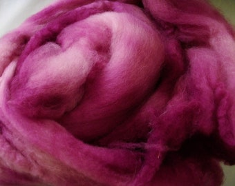 Handpainted BFL Wool Roving - 2 oz. - Burgundy - Spinning Fiber