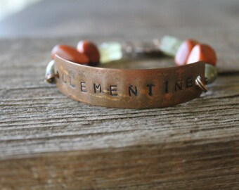 No. 016 - Green and Burnt Orange ID Bracelet with Hand Stamped Focal Piece - Clementine