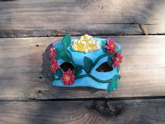 ball aqua lily Mask yellow green blue pink Gras tropical Costume of kind vine mask one a and Masquerade Mardi blue wTHwv8q