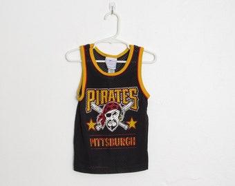 Pirates de Pittsburgh de garçon réservoir maille Top / noir / Vintage de Baseball chemise sans manches d'enfant / taille 5