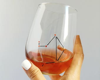 Zodiac Constellation Hand Painted Wine Glass