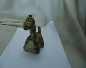 Vintage Yellow Checkered Stuffed Giraffe Toy, Animal, collectable