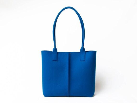 Wool Felt TOTE BAG / blue tote bag / blue bag / womens bag / felt shoulder bag / carry all bag / made in Italy