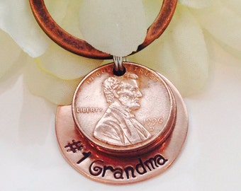 Grandmas handstamped Lucky Keychain with copper pennies-Grandma Keychain