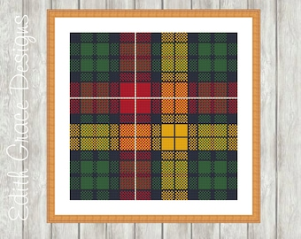 Needlepoint Pattern - Scottish Tartan - Buchanan Tartan - Tapestry Pattern - Scotland - Canvas Work - Sampler - Sewing - Geometric Art
