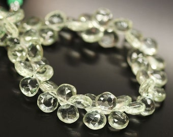 "2 Strands Prasiolite Green Amethyst Faceted Drop Heart Gemstone Beads 7"" 7mm 8mm"