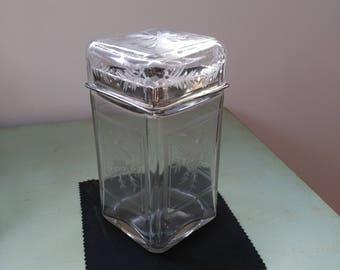 Pot/jar glass etched vintage / Vintage glass vase