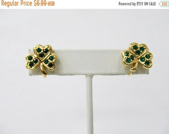 ON SALE AVON Retro Rhinestone Shamrock Earrings Item K # 491