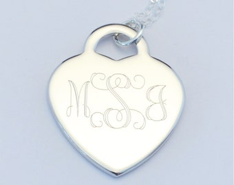 FREE SHIPPING Custom Engraved Heart Charm Necklace, Personalized Necklace, FREE Gift Wrapping