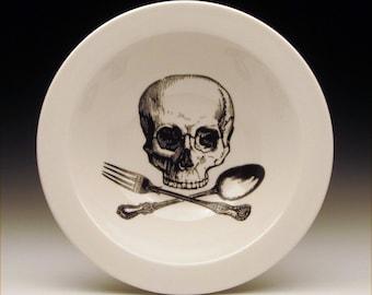 skull and cross utensils BOWL, skull dinnerware, halloween tableware, goth dinnerware, ceramic bowl, pirate dish, jolly roger, horror gift