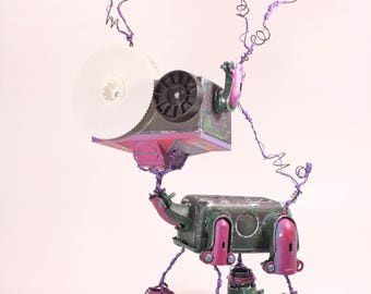 Hauska, Bot Number: 201791009. Hand Painted Robot Sculpture. Found Object Art. Animal Metal Sculpture. Electrical Boxes. Dog. Cat. Lee Bots