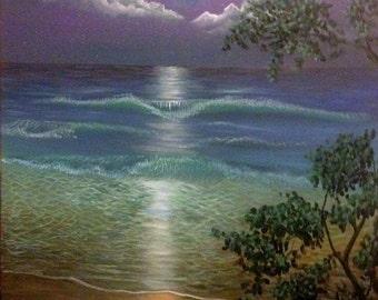 Acrylic Painting of Beach at Night