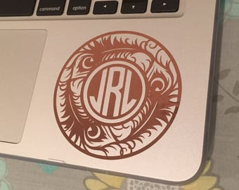 "3"" Monogrammed Laptop Decal"