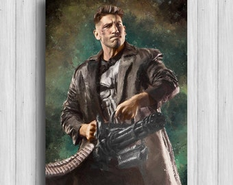 punisher print marvel painting the punisher marvel art daredevil punisher decor