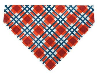 Plaid Dog Bandana - Red and Blue / Teal