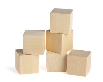Wooden Blocks - Solid, Natural, Unfinished, 10 Piece Baby Toy Craft 1.5 inch