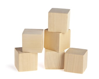 Solid Natural Unfinished Wooden Blocks : 1.5 Inch Wood Toy Blocks Wooden Cubes - Baby Shower Games (10 Blocks)
