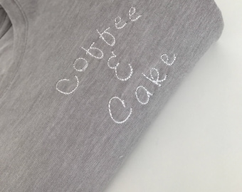 Coffee & Cake - Embroidered T-Shirt