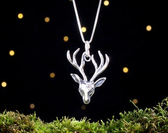 Sterling Silver Stag Head - (Pendant or Necklace)