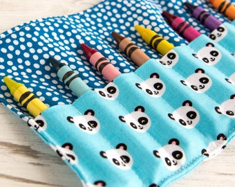 Crayon roll, Blue Panda, Crayon holder, Pencil roll, Gift for girls, Gift for boys, Birthday party favours, Back to school, Art, Colouring