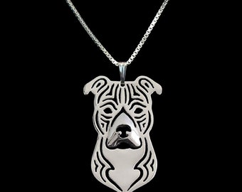 """Ginger Lyne Collection Staffordshire Terrier Dog Pendant and 20"""" Box Chain Necklace"""