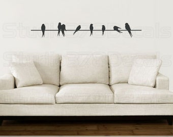 Birds On A Wire Vinyl Decal - Home Decor - Silhouette - Love Birds - Sparrows - Childrens Nursery Decor - Wall Decal - SALE - 48""