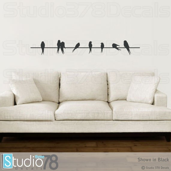 Birds on a wire vinyl decal home decor silhouette love birds on a wire vinyl decal home decor silhouette love birds sparrows childrens nursery decor wall decal sale 48 altavistaventures Images