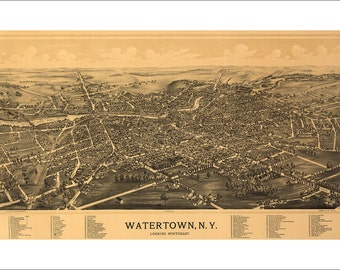 """Watertown New York in 1891 Panoramic Bird's Eye View Map by L. R. Burleigh 22x14"""" Reproduction"""