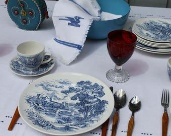Blue White Dinnerware Vintage Wedgwood Countryside Cup Saucer Set Boho Dining Room Vintage Home Decor Retro Wedding Tableware Victorian Home & Victorian dinnerware | Etsy