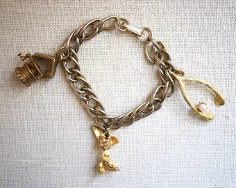 Good Luck Charm Bracelet wishbone, bunny rabbit, wishing well