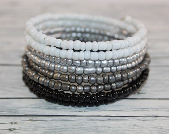 Black and white glass beads memory wire bracelet