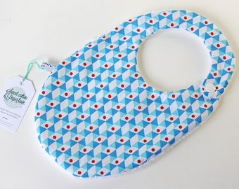 Bib birth 0 to 9 month - model TRIANPOIS blue/CYAN/Red