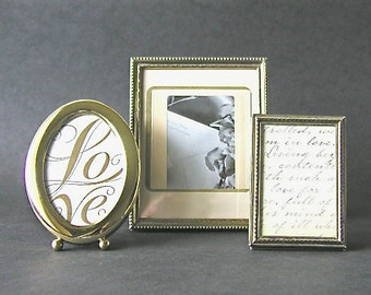 Set of 3 Small Vintage Brass & Gold Tone Metal Picture Frames Wedding Photo Frames