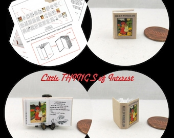 ALICE IN WONDERLAND Printable Instant Download Project 1:12 Miniature Dollhouse Scale Miniature Downloadable Miniature Book Red Queen Rabbit