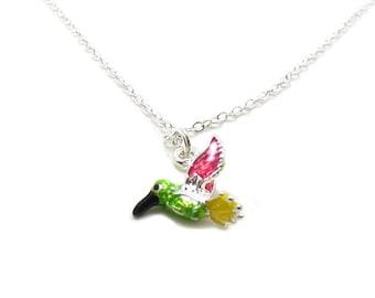 Hummingbird Necklace, Hummingbird Charm, Silver Hummingbird, Hummingbird Jewelry, Hummingbird  Pendant, Bird Necklace, Tiny Hummingbird