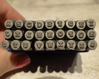 TYPEWRITER Font - UPPERCASE steel letter stamps - 5/64 inch (2mm) size letters with an ampersand
