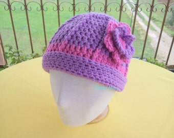 Children hat crochet, hat crochet,crochet cap,Purple pink girls hat,purple fuchsia cap,Crochet winter hat, handmade crochet cap,kids, #etsy