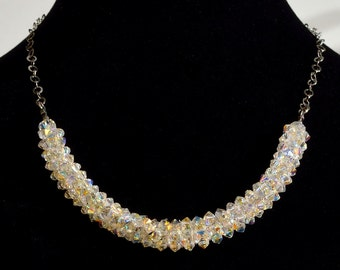 Jewelry Necklace Swarovsky crystals AB Wedding jewelry Simple white necklace Delicate  elegant necklace