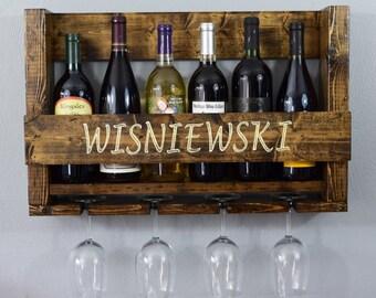 Beautiful Wine Rack - Wine Rack - Rustic Wine Rack - Customized Wine Rack - Personalized Gift - Wedding Shower Gift - Wall Bar - Wine Decor