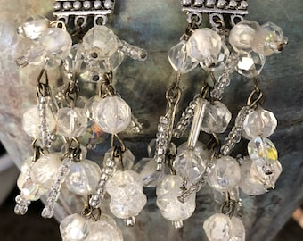 Crystal beaded chandelier earrings
