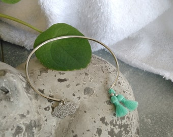 Mint silver tassel Bangle Bracelet