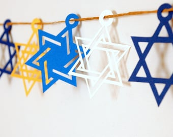 Hanukkah Decoration -Hanukkah Garland - Chanukah Garland - Star of David Bunting - Jewish Holiday Decoration - Star Garland Hanukkah - UK