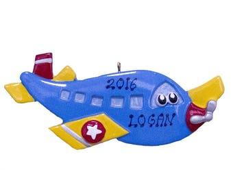 Airplane Personalized Christmas Ornament, Airplane Ornament,Personalized,Airplane, Jet, Cute Plane, Cartoon Plane
