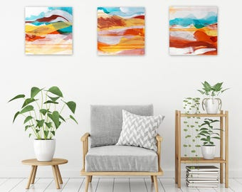 Original Abstract Triptych, Abstract Landscape, Boho Home Decor, Earth Tones, turquoise - Meditations on Lifting and Grounding 2018