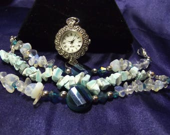 Woman's Quartz Watch with 3 Beaded Bands **Opals** B100- B103