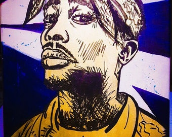 Tupac - Original 2Pac Drawing on Canvas with Acrylic