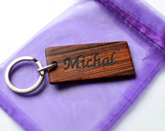 Personalised wooden keyring / key chain fob - Engraved - Cocobolo wood
